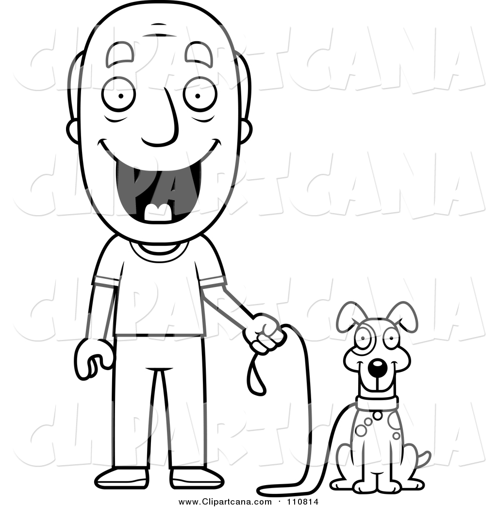cartoon clip art of a lineart happy senior man ready to walk his