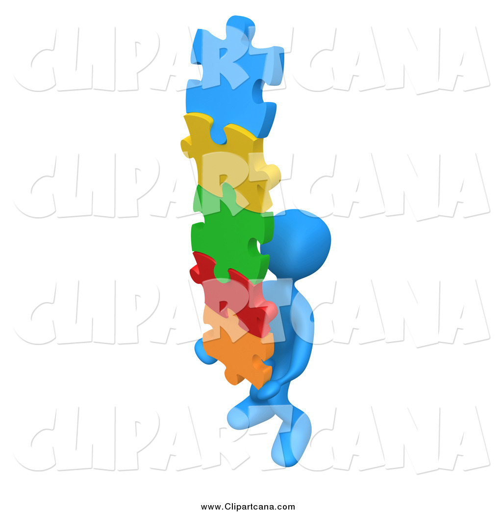 3d Blue Man Carrying A Stack Of Connected Colorful Puzzle Pieces