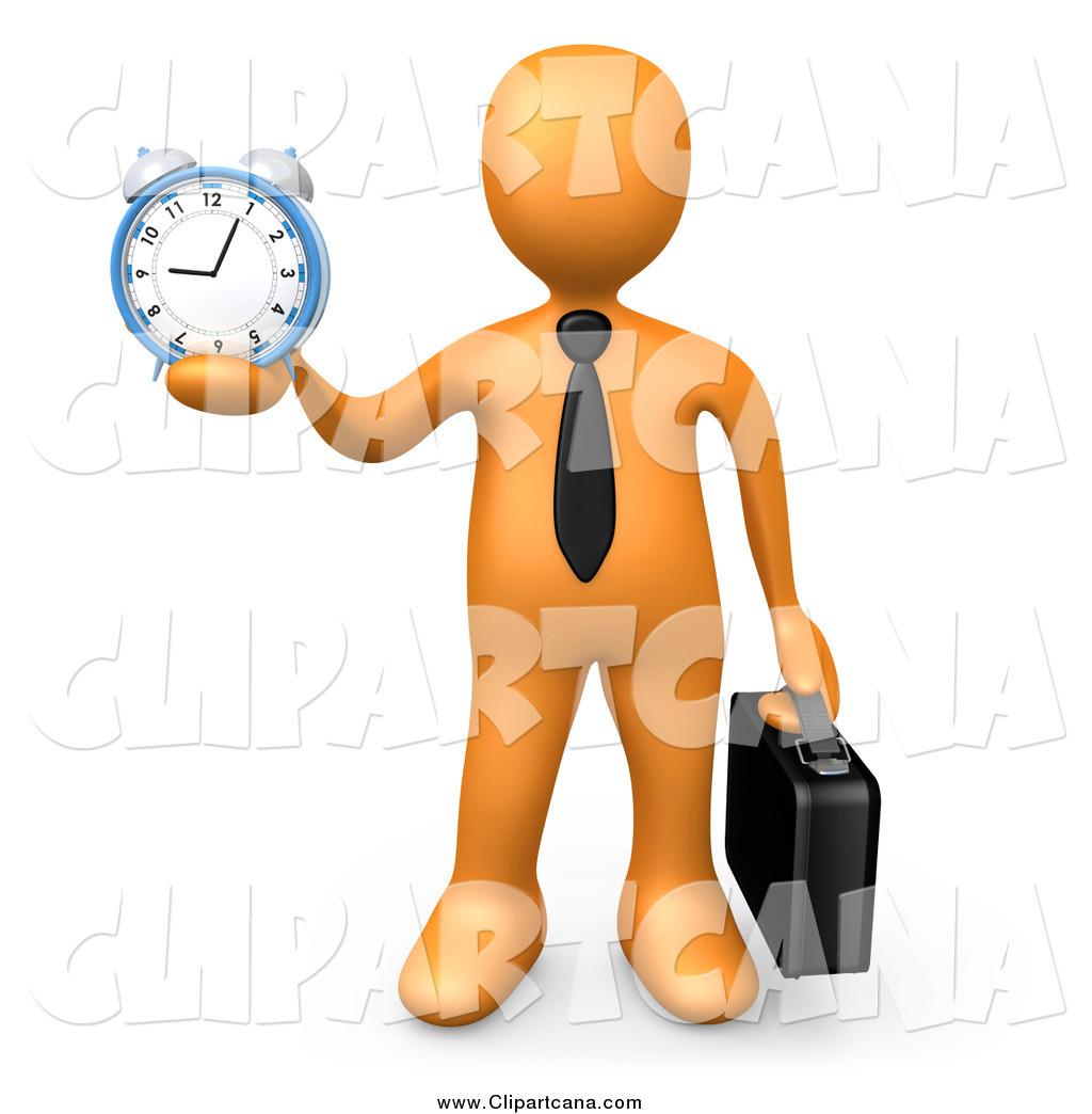 clip art of a 3d orange businessman holding out an alarm clock by rh clipartcana com