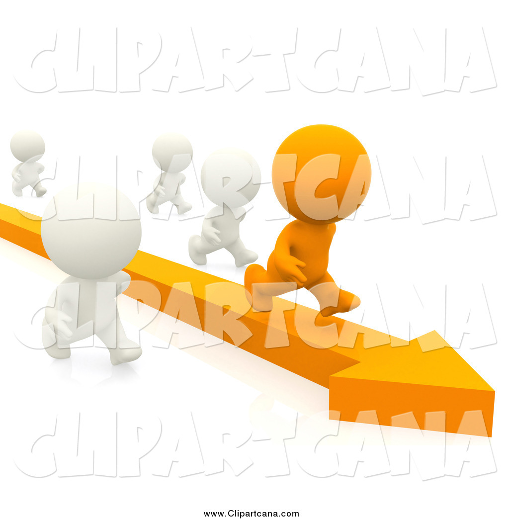Clip Art of a 3d Orange Man  Outstanding Clip Art