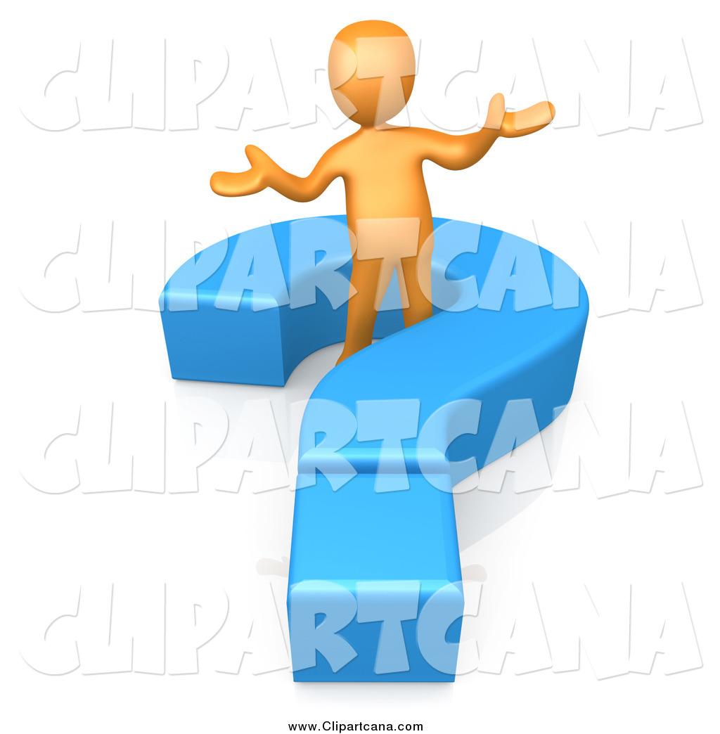 Clip art of a 3d orange man shrugging in a blue question mark by 3pod