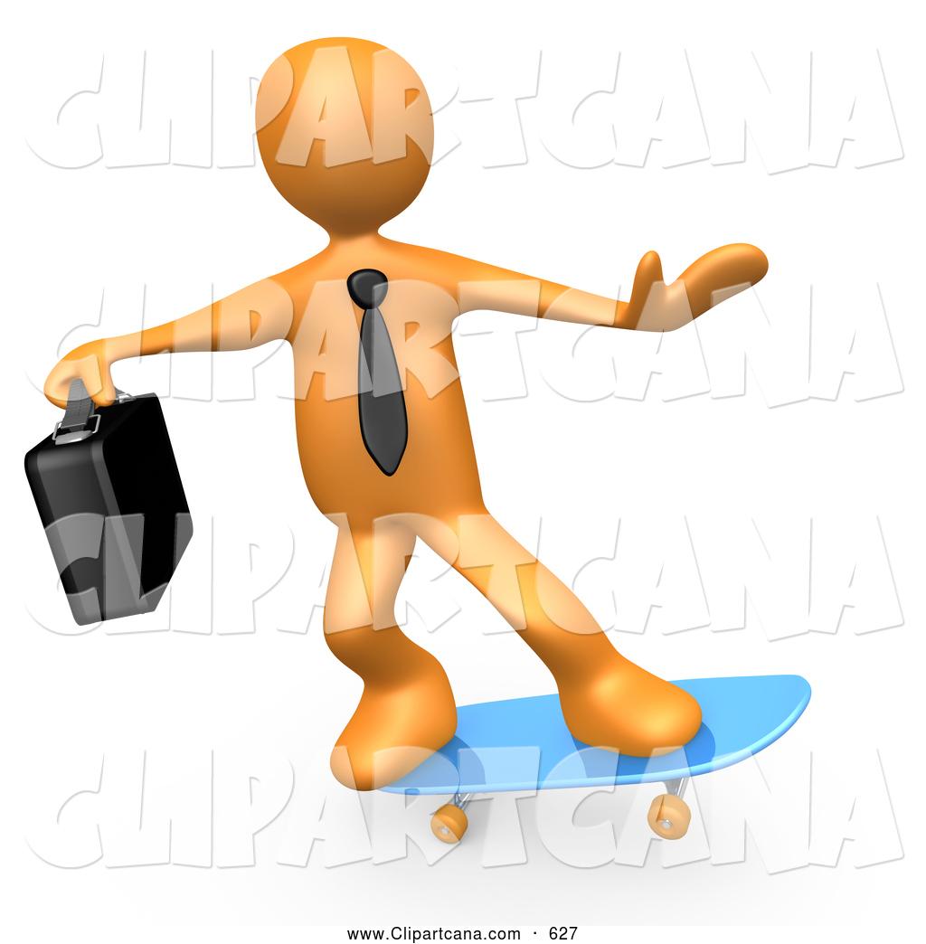 Skateboard clip art images skateboard stock photos amp clipart - Cool Orange Businessman Person With A Briefcase Skateboarding On A Blue Skateboard