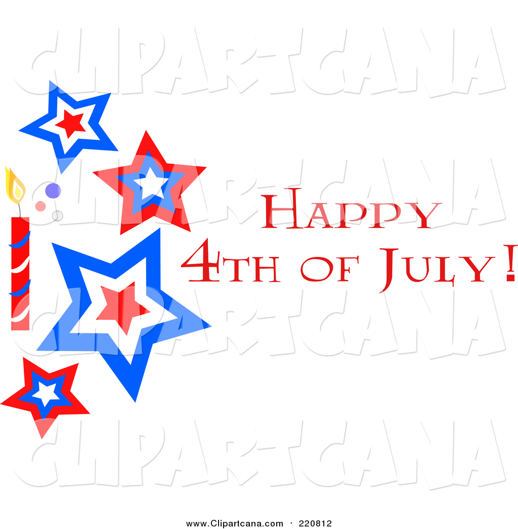 Clip Art Of A Happy Fourth Of July Star And Firework