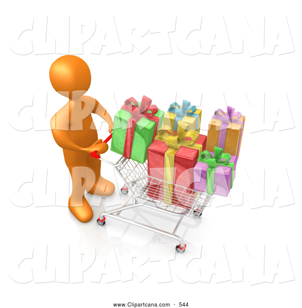 Clip Art Of A Orange Person Pushing Shopping Cart Packed Full Colorful Wrapped Christmas