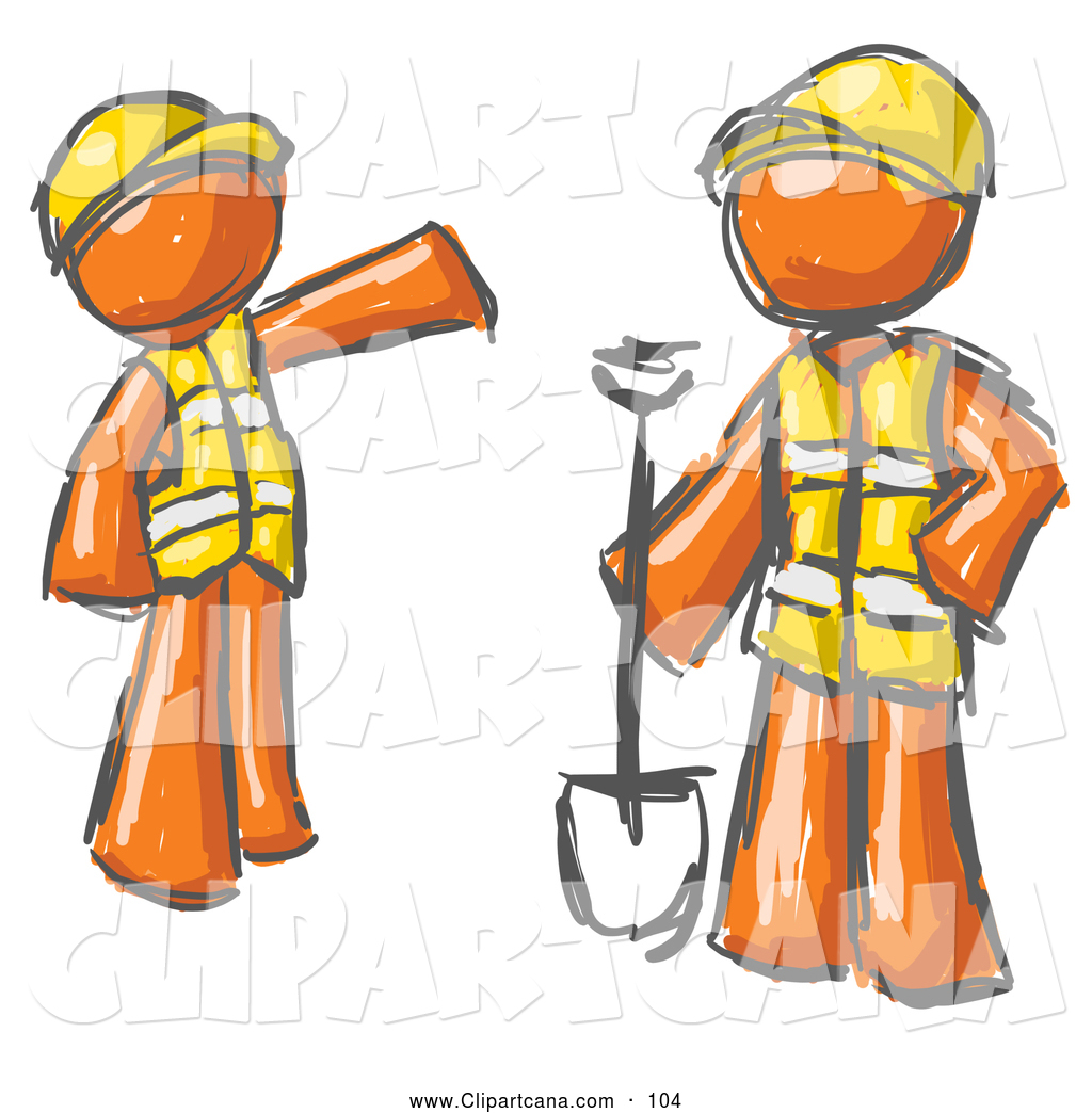 Clip Art Of A Pair Painted Orange Men In Hardhats And Vests Working With