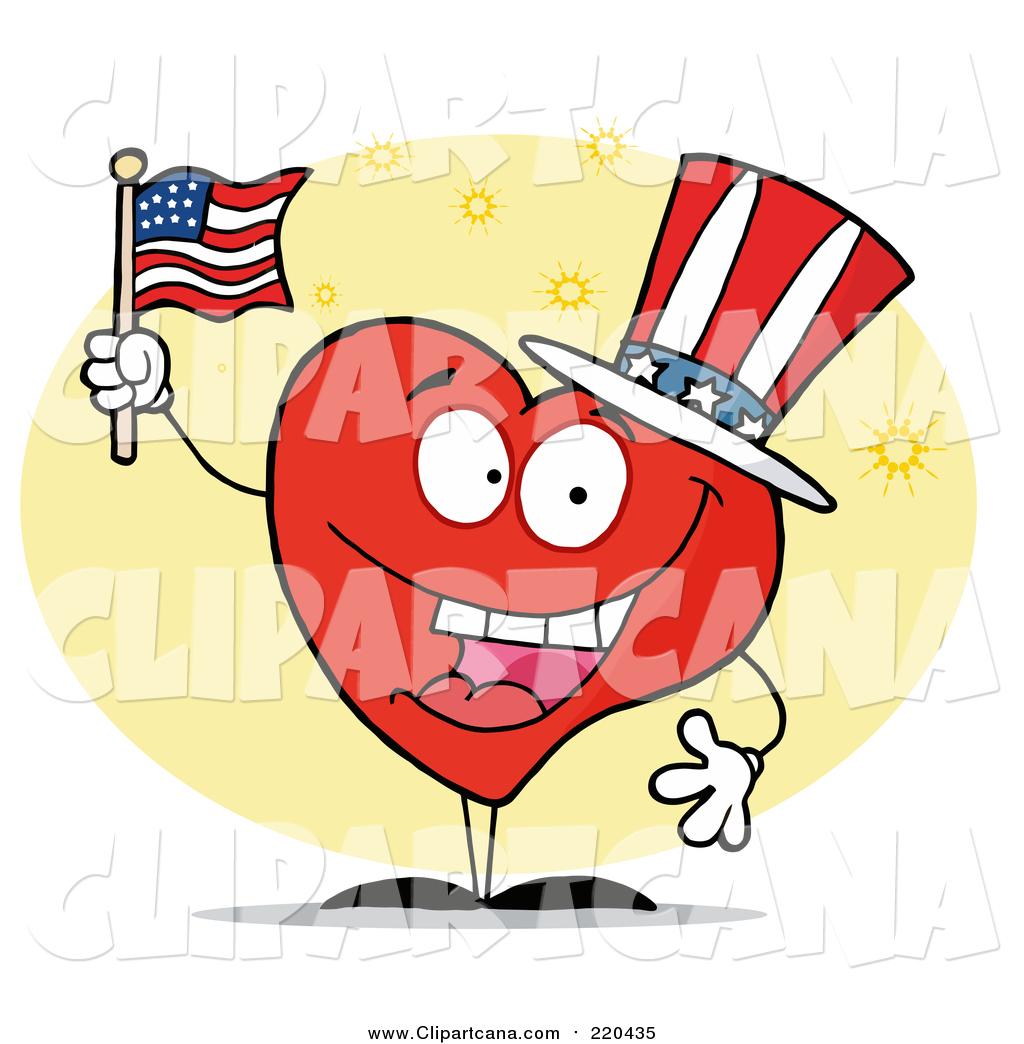 clip art of a patriotic american heart character by hit toon 220435 rh clipartcana com american clip art free vintage americana clipart