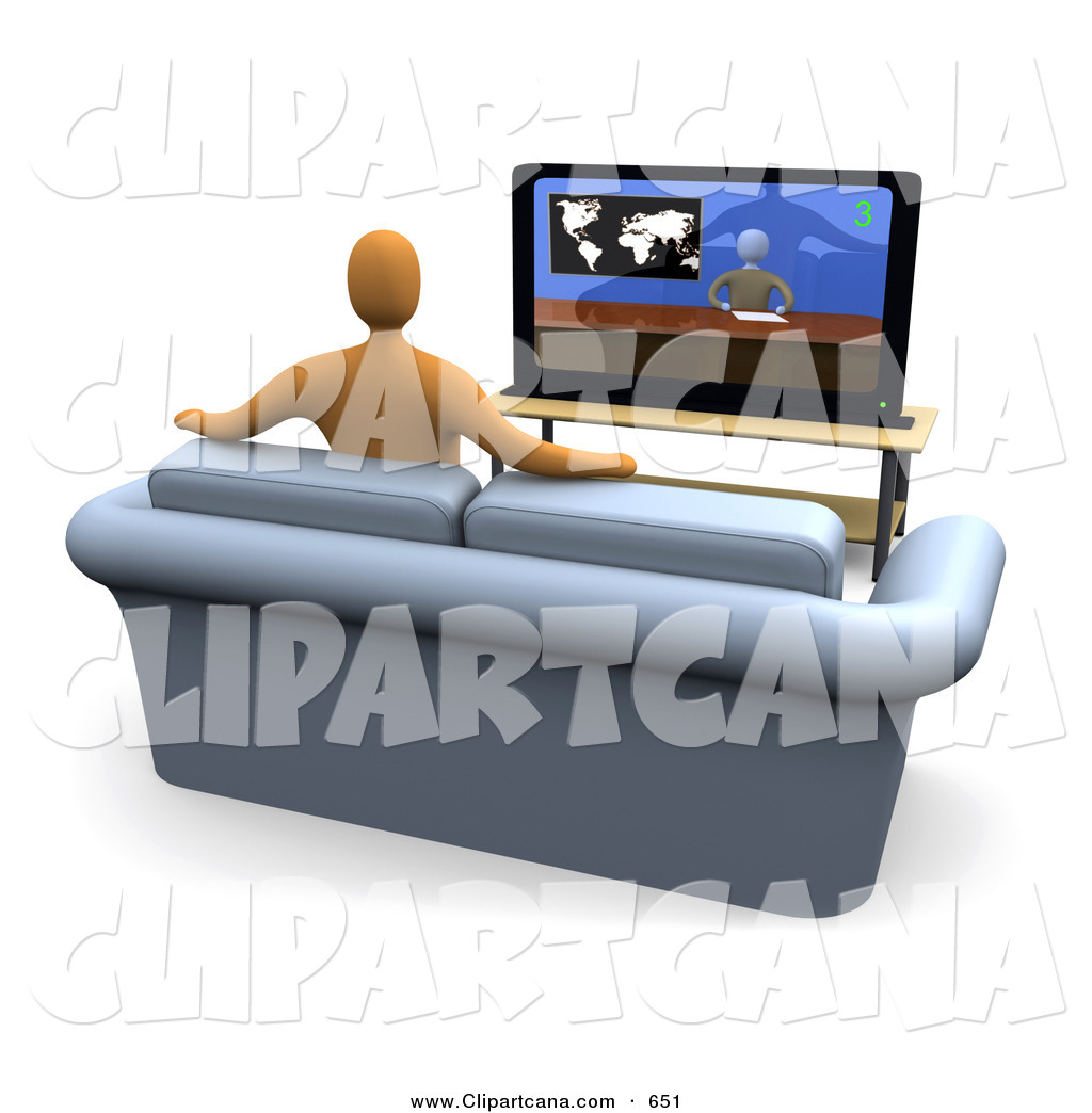 Clip Art Of An Orange Figure Sitting Down On A Loveseat Sofa In Living Room And Watching The News Channel Television While Resting His Arms Back