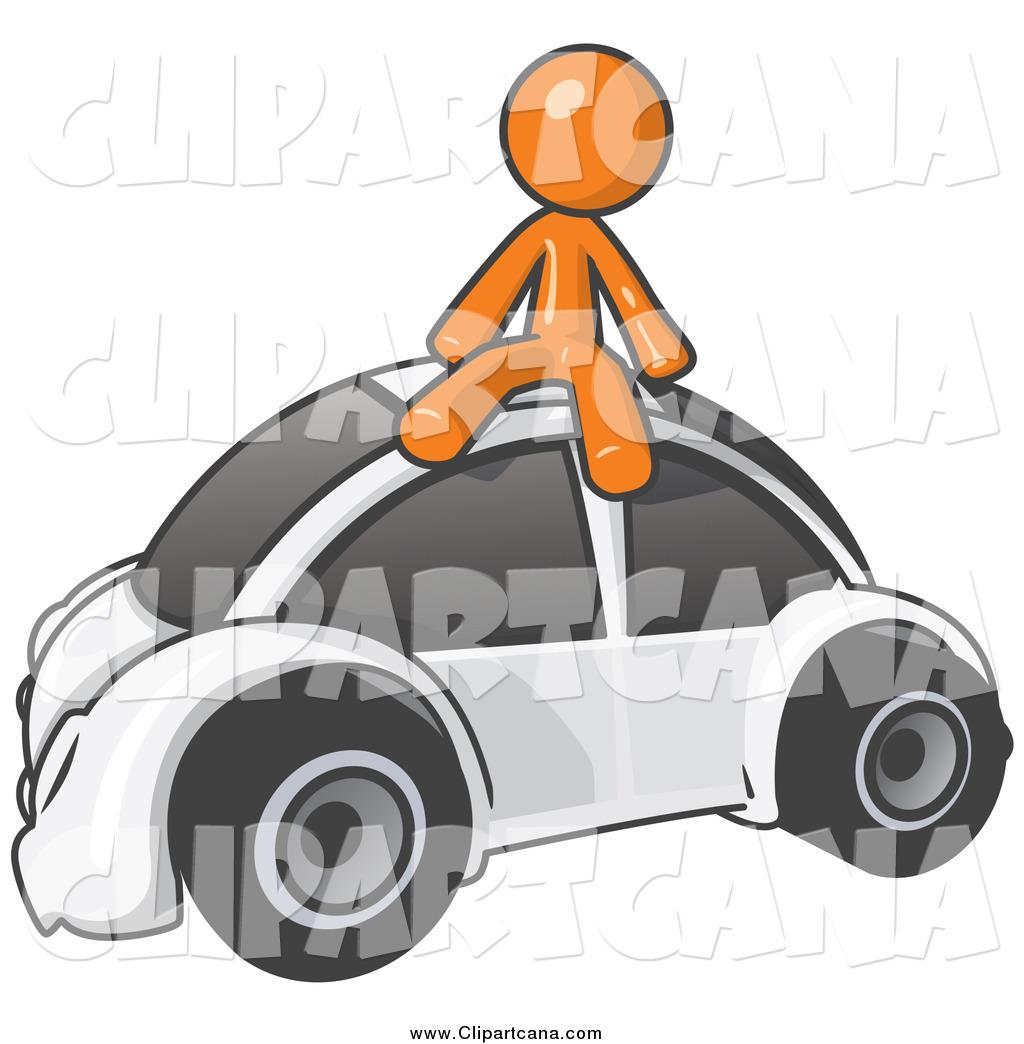 clip art of an orange man sitting on a white slug bug by leo