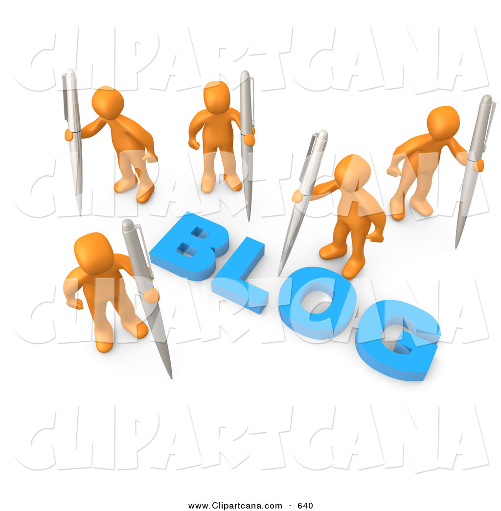 clip art of five orange people surrounding the blue word blog and rh clipartcana com blog clip art png mom blog clipart