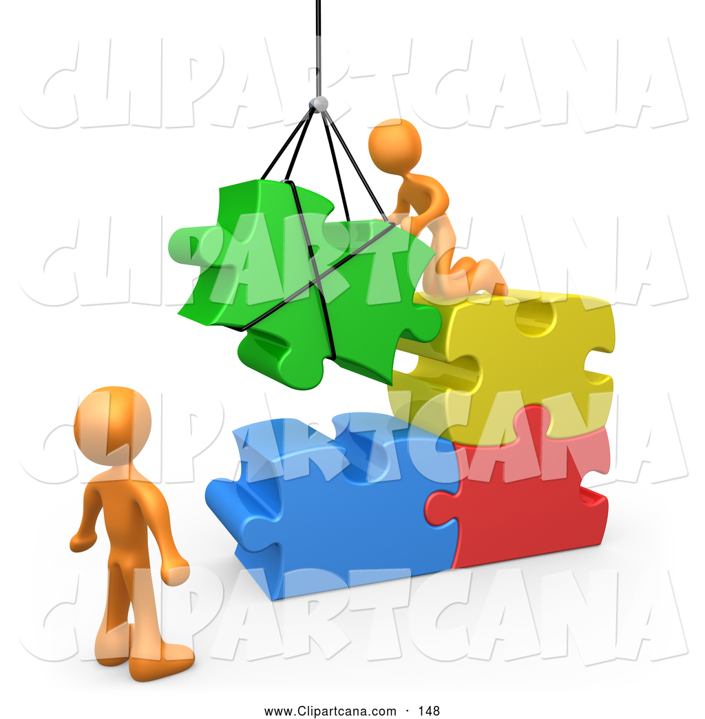 Vector Clip Art Of 3d Orange Men Directing A Hoisted Puzzle Piece Into Space