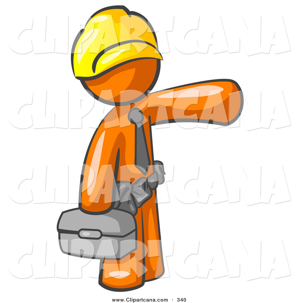 Vector Clip Art Of A Busy Orange Man Construction Worker Handyman Or Electrician