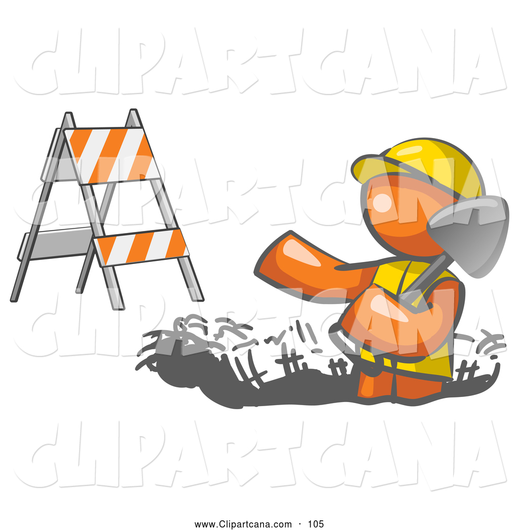 Vector Clip Art Of A Hard Working Orange Man Wearing Vest And Hardhat Standing In