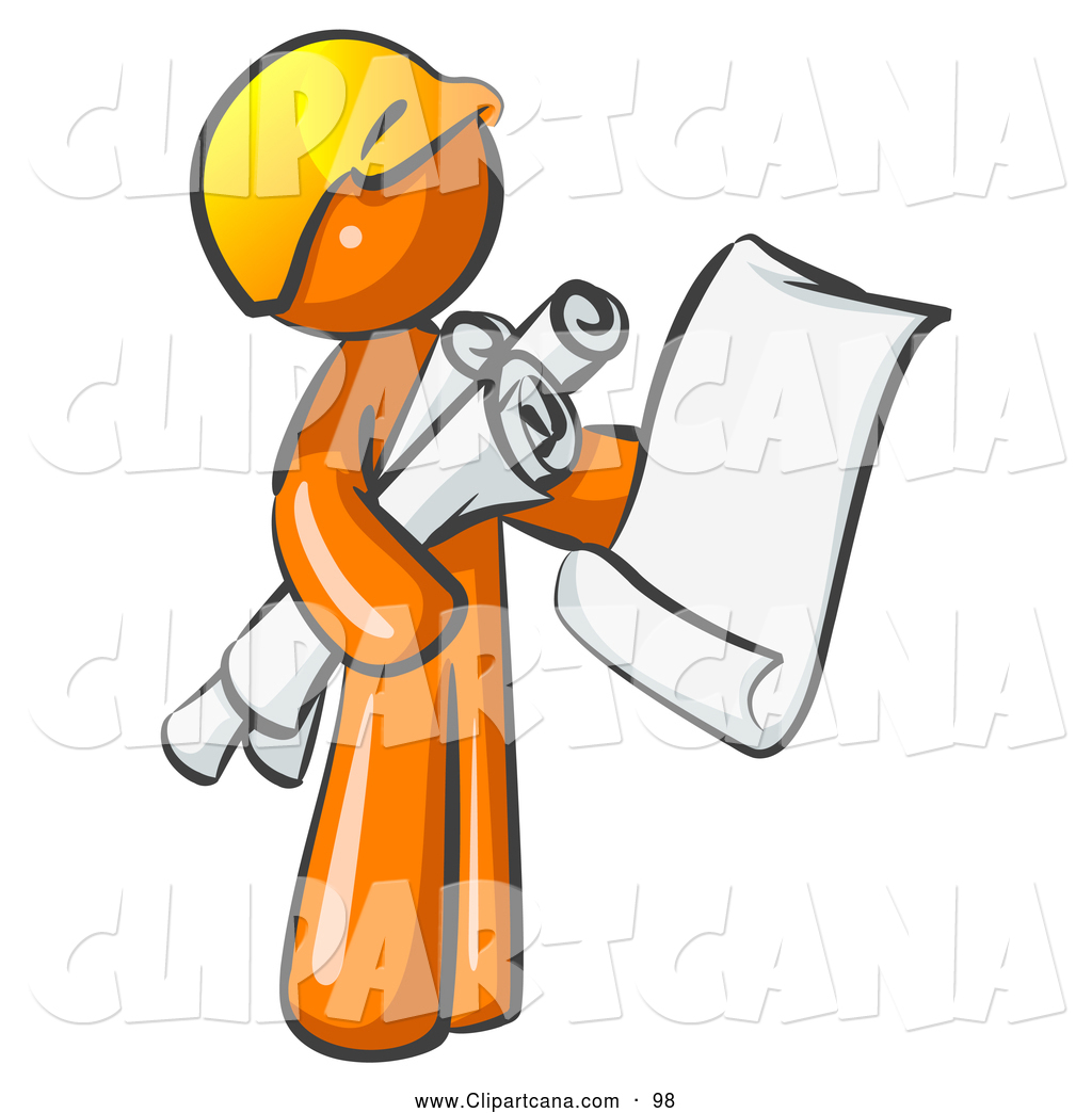 Vector Clip Art of a Orange Man Contractor or Architect Holding ...