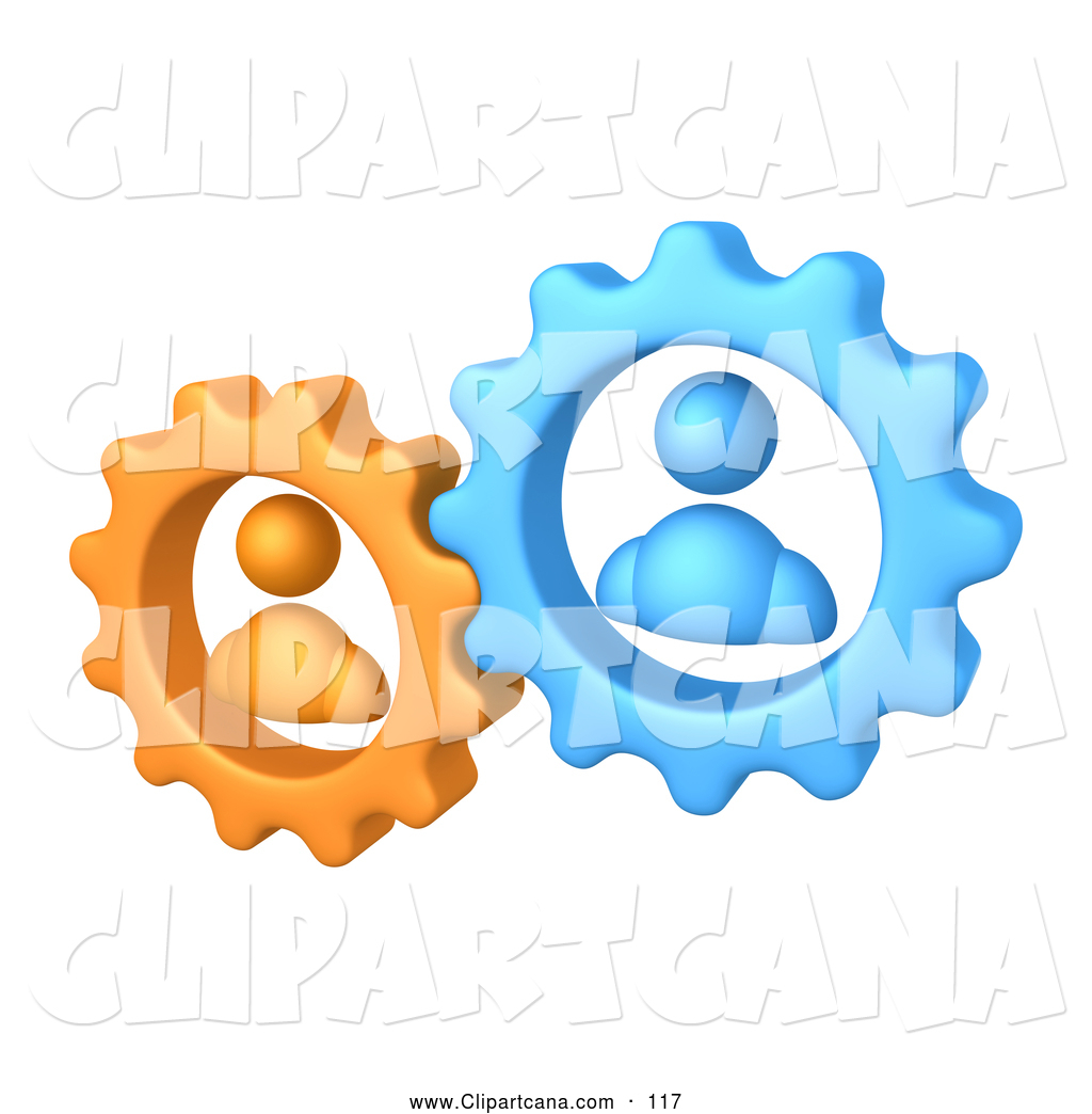 vector clip art of a pair of orange and blue people inside gears rh clipartcana com working together clipart free partners working together clipart