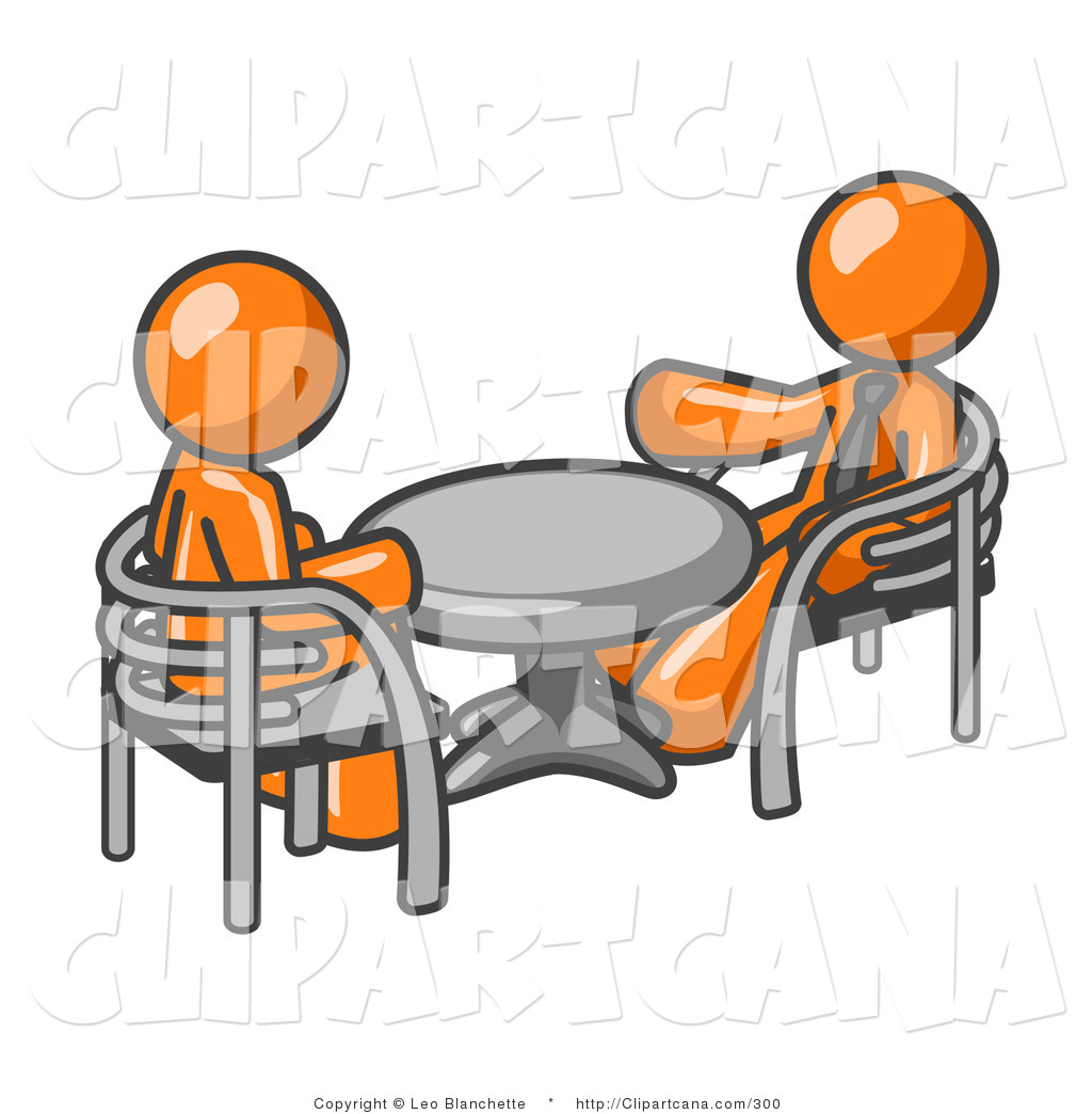 vector clip art of a pair of orange business men sitting across from rh clipartcana com free business meeting cliparts free church business meeting clipart