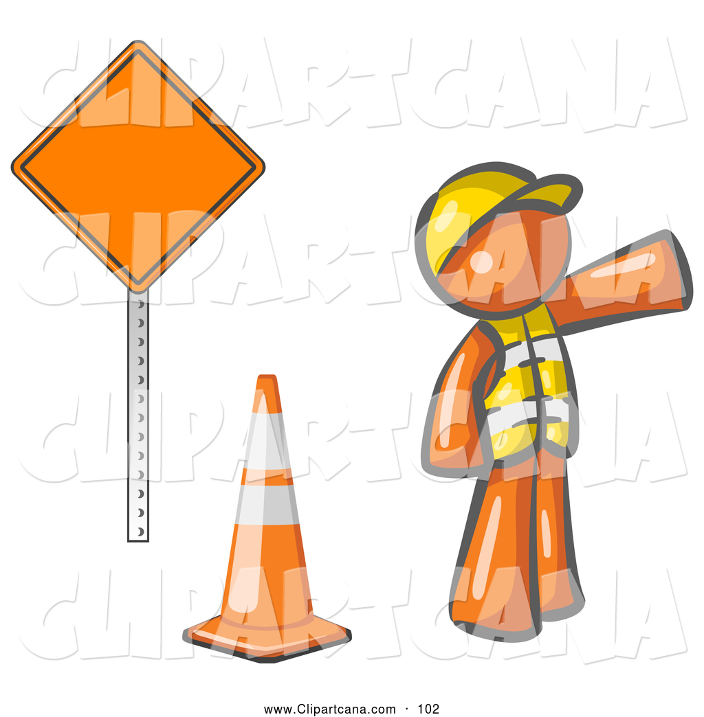 Vector Clip Art Of A Shiny Orange Man Construction Worker Wearing Vest And Hardhat
