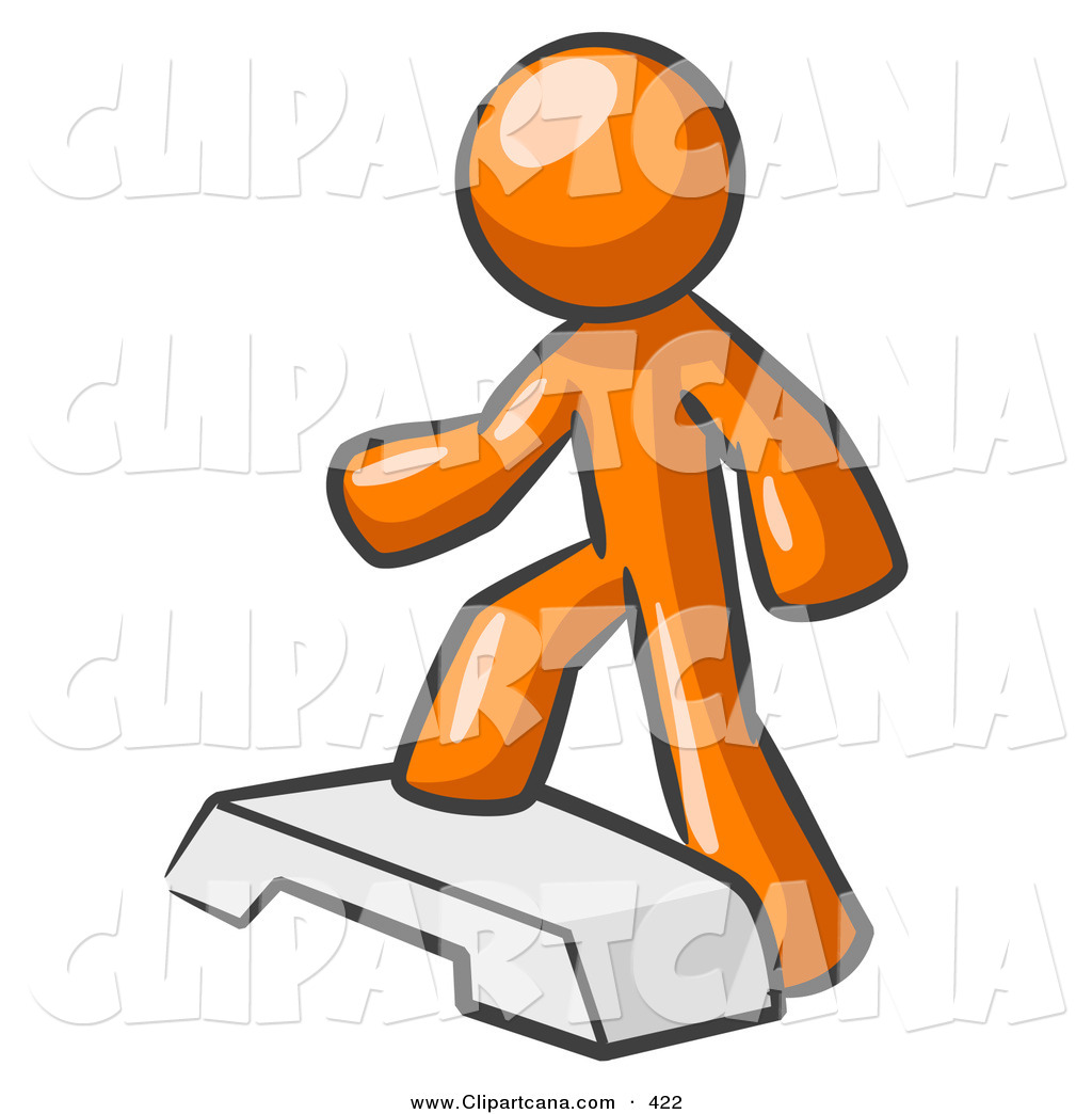 Vector Clip Art of a Shiny Orange Man Doing Step Ups on an ...