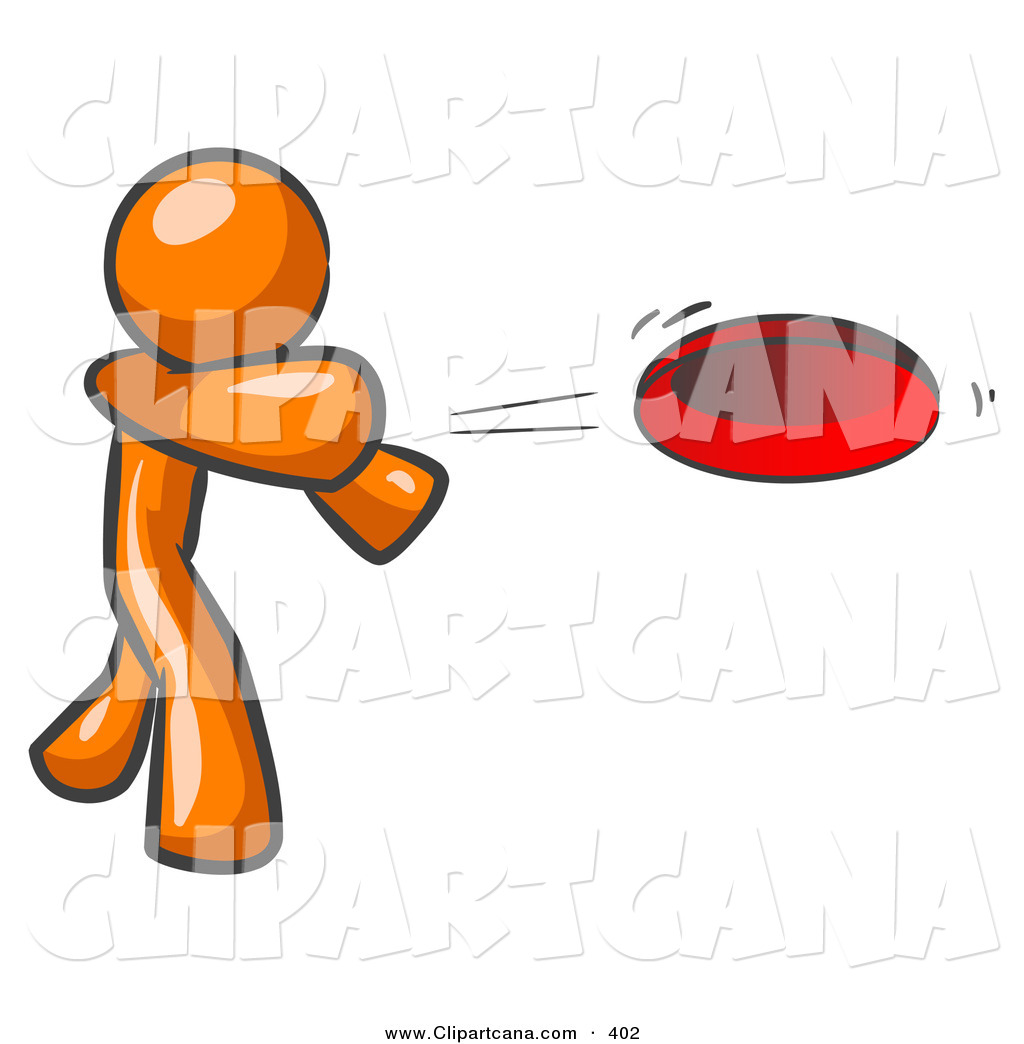vector clip art of a sporty orange man tossing a red flying disc rh clipartcana com free orange man clipart orange man clipart collection