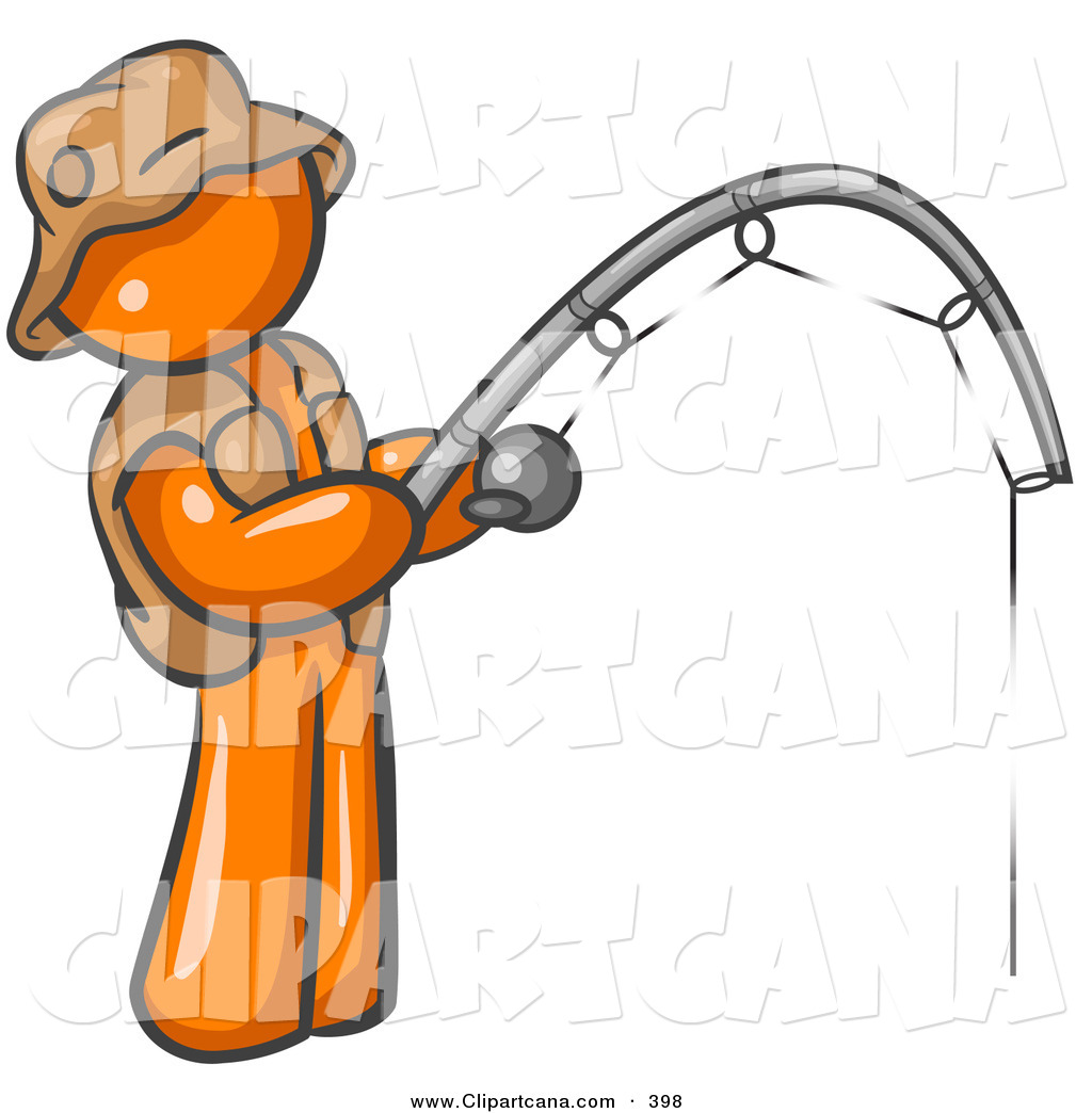 vector clip art of a sporty orange man wearing a hat and vest and rh clipartcana com clipart fishing rod fishing clipart