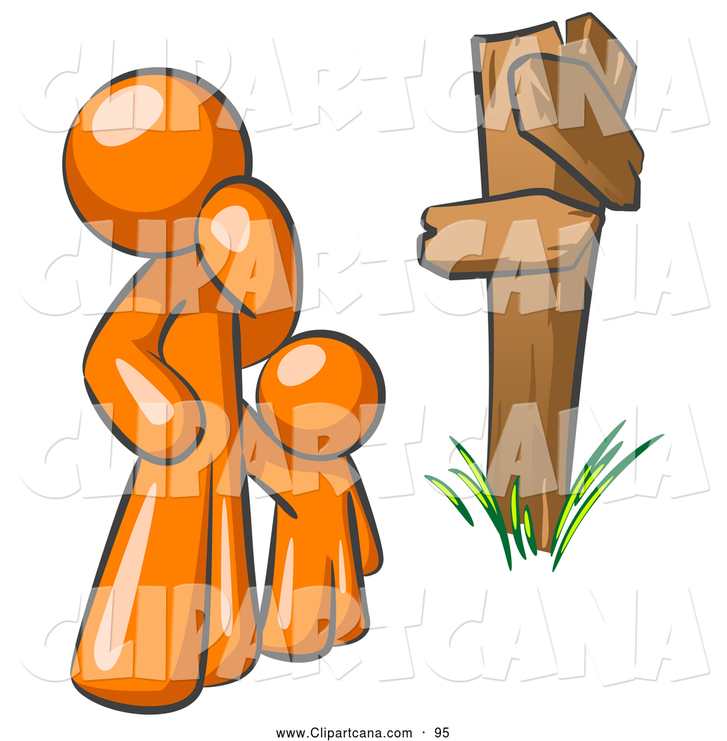 Vector Clip Art Of A Uncertain Orange Man And Child Standing At A