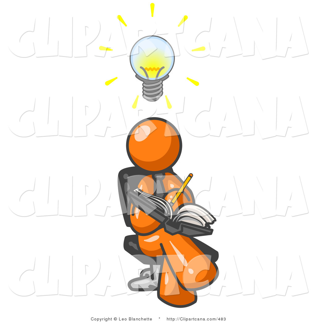 Lightbulb Over His Head Clip Art C Leo Blanchette Vector Of An Intelligent Orange Man Seated With Legs Crossed Brainstorming And