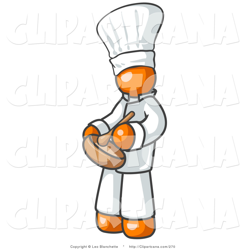 Vector Clip Art Of An Orange Baker Chef Cook In A White Uniform And Chefs Hat