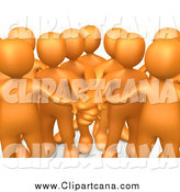 Cartoon Clip Art of a 3d Group of Orange People with Their Hands All in by 3poD