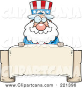 Cartoon Clip Art of a Chubby Uncle Sam over a Blank Parchment Banner by Cory Thoman