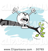 Cartoon Clip Art of a Complaining Moodie Character Emoticon out on a Limb by Johnny Sajem