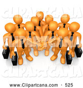 Cartoon Clip Art of a Friendly Group of Orange Business People Carrying Briefcases and Standing with Their Hands Piled, Symbolizing Teamwork, Cooperation, Support, Unity and Goals by 3poD
