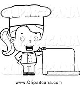Cartoon Clip Art of a Lineart Female Toddler Chef Holding a Blank Menu by Cory Thoman