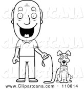 Cartoon Clip Art of a Lineart Happy Senior Man Ready to Walk His Dog by Cory Thoman