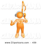 Cartoon Clip Art of a Orange Person with a Music Note Head Listening to Headphones by 3poD