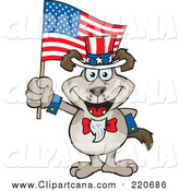 Cartoon Clip Art of a Patriotic Uncle Sam Canine Waving an American Flag by Dennis Holmes Designs