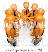 Cartoon Clip Art of a Proud Group of Seven Orange Businessmen Carrying Briefcases and Standing with Their Hands Together, Symbolizing Teamwork, Cooperation, Support by 3poD