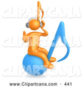 Cartoon Clip Art of an Orange Man Wearing Headphones and Listening to Tunes While Bouncing on a Blue Music Note by 3poD