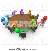 Clip Art of 3d Colorful People Dozing Around a Round Table by 3poD