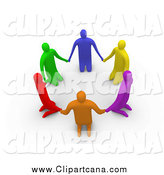 Clip Art of 3d Colorful People Kneeling in a Circle by 3poD