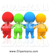 Clip Art of 3d Diverse Colorful People Facing Front by Andresr