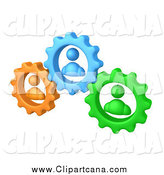 Clip Art of 3d Green, Orange and Blue People in Gears, Working Together to Solve a Problem by 3poD