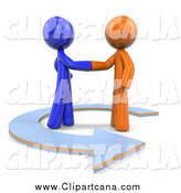 Clip Art of 3d Orange and Blue Men Shaking Hands in a Circle Arrow by Leo Blanchette