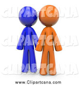 Clip Art of 3d Orange and Blue People by Leo Blanchette