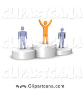 Clip Art of 3d Orange and Gray Men on Platforms by Jiri Moucka