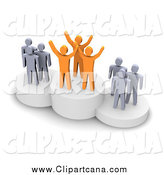 Clip Art of 3d Orange and Gray People on Placement Platforms by Jiri Moucka
