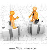 Clip Art of 3d Orange Business Men on Puzzle Pieces, Reaching out to Shake Hands by 3poD