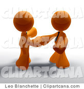 Clip Art of 3d Orange Businessmen Shaking Hands on a Deal by Leo Blanchette