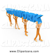 Clip Art of 3d Orange Guys Carrying Blue TEAMWORK by 3poD