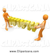 Clip Art of 3d Orange Guys Carrying Yellow WWW by 3poD