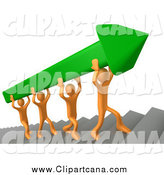 Clip Art of 3d Orange Men Carrying a Green Arrow up Stairs by 3poD
