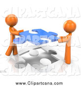 Clip Art of 3d Orange Men Inserting a Blue Piece into a Jigsaw Puzzle by Leo Blanchette